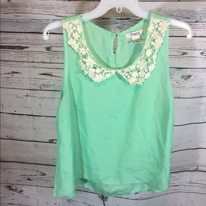 Pinky Blouse with Lace Size Large Mint